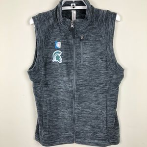 Ouray Sportswear NCAA Michigan State Spartans Womens Guide Vest Charcoal Heather Medium